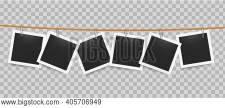 Photo Frame Hanging By Clip On Rope. Realistic Blank Photography Templates On Transparent Background