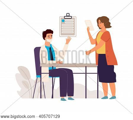 Doctor And Patient. Medical Check Up Concept. Cartoon Physician Consulting Woman In Clinic, Therapis