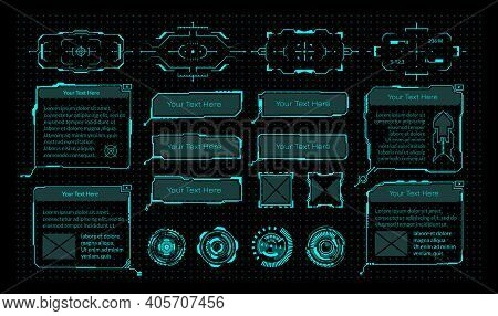 Hud Elements. Cyberpunk Virtual Game Interface. Modern Neon Frames With Copy Space, Round Viewfinder