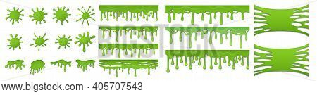 Green Slime. Toxic Mucus. Bright Blots And Smudges Or Dripping Streams. Spooky Sticky Stretch Textur