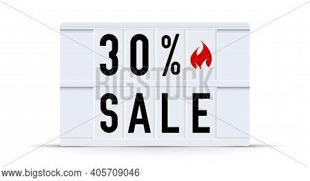 30 Percent Sale. Text Displayed On A Vintage Letter Board Light Box. Vector Illustration.