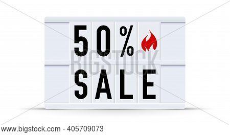 50 Percent Sale. Text Displayed On A Vintage Letter Board Light Box. Vector Illustration.