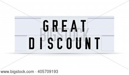 Great Discount. Text Displayed On A Vintage Letter Board Light Box. Vector Illustration.