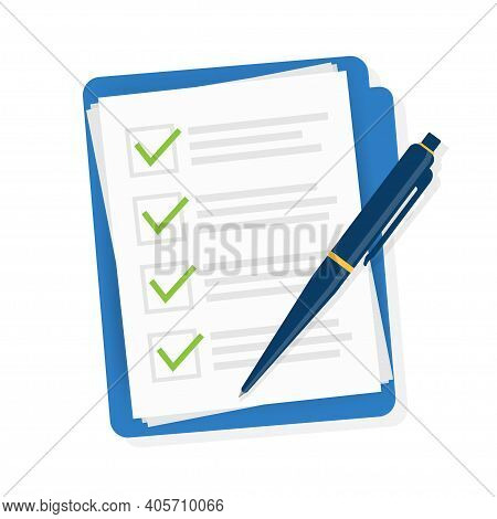 Check List In Flat Style. Vector Stock Illustration. Check Mark Icon. Flat Design Illustration. Chec