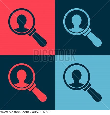 Pop Art Magnifying Glass For Search A People Icon Isolated On Color Background. Recruitment Or Selec