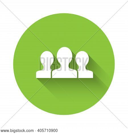 White Users Group Icon Isolated With Long Shadow. Group Of People Icon. Business Avatar Symbol - Use