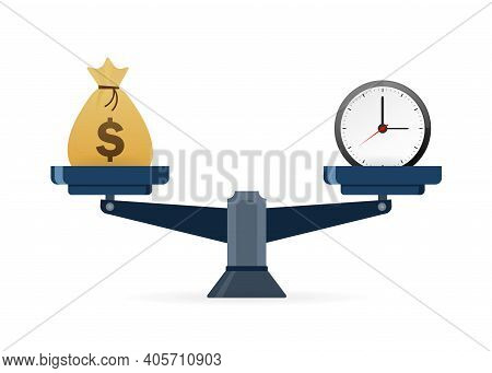 Time Is Money, Great Design For Any Purposes. Business Concept. Business Investment Isometric Vector