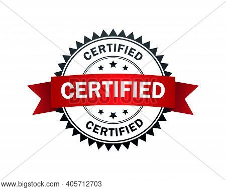 Certified Label. Certified Black-red Stamp With Band. Vector Illustration.