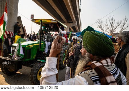 January 2021 Delhi , India Huge Number Of Tractor With Indian Flag Going For Tractor Rally During Fa