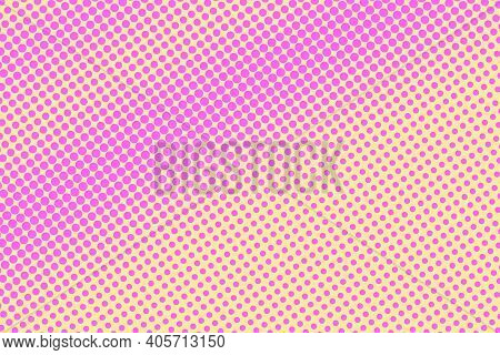 Pink And Yellow Dotted Halftone Vector Background. Subtle Halftone Digital Texture. Faded Dotted Gra