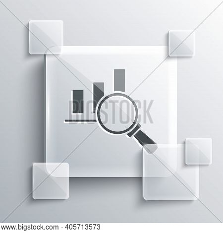 Grey Magnifying Glass And Data Analysis Icon Isolated On Grey Background. Square Glass Panels. Vecto