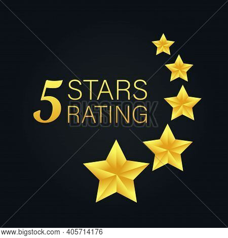 Five Golden Rating Star On Gray Black Background. Vector Stock Illustration.