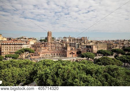 Rome City Panoramic View. Beautiful Panorama Of Rome, Rome Rooftop View, Italy
