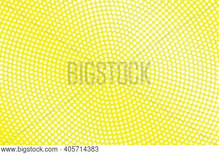 Yellow And White Dotted Halftone Vector Background. Subtle Halftone Digital Texture. Faded Dotted Gr