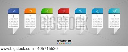 Minimal Business Infographics Template. Timeline With 7 Steps, Options And Marketing Icons .vector L