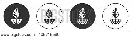 Black Earth Globe And Leaf Icon Isolated On White Background. World Or Earth Sign. Geometric Shapes.