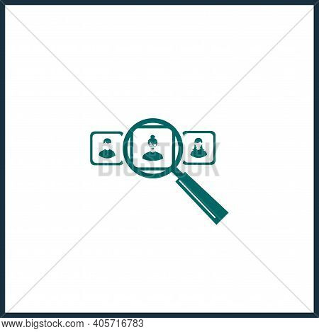 Human Resources Vector Icon, Search For An Employee Simple Isolated Icon