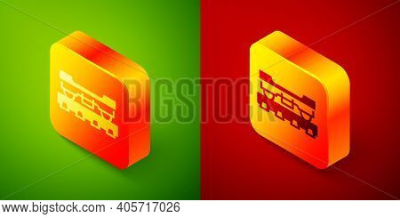 Isometric Cargo Train Wagon Icon Isolated On Green And Red Background. Freight Car. Railroad Transpo