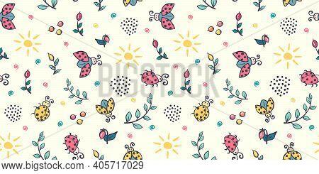 Cute Ladybug Seamless Pattern. Ladybird Cartoon Character Childrens Illustration. Lady-beetle Floral