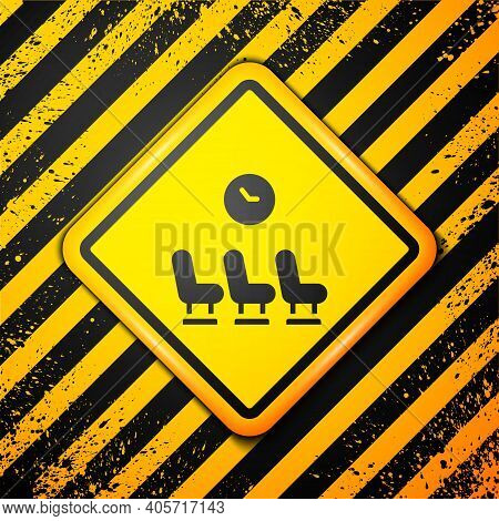 Black Waiting Room Icon Isolated On Yellow Background. Warning Sign. Vector