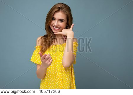 Beautiful Smiling Happy Young Blonde Woman Wearing Stylish Yellow Summer Dress Standing Isolated Ove