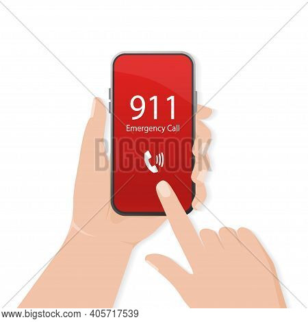 911 Calling In Flat Style. Vector Flat Design. Mobile Phone. Finger Touch Screen. First Aid. Call Sc