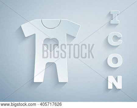 Paper Cut Baby Clothes Icon Isolated On Grey Background. Baby Clothing For Baby Girl And Boy. Baby B