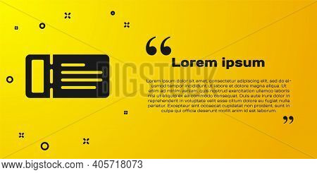 Black Cruise Ticket For Traveling By Ship Icon Isolated On Yellow Background. Travel By Cruise Liner