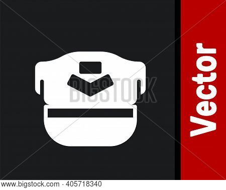 White Pilot Hat Icon Isolated On Black Background. Vector