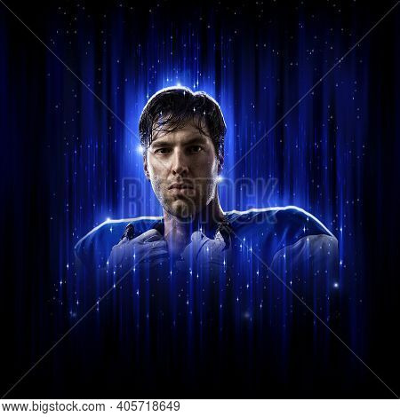 Hero Football Player Wearing A Blue Uniform