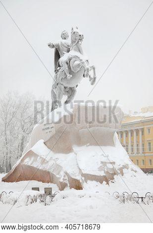 Bronze Horseman On Senate Square. Saint-petersburg. Russia