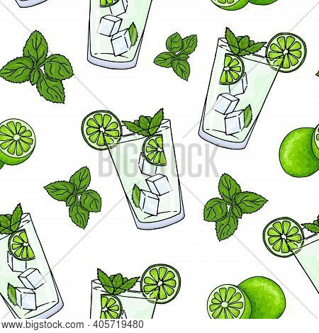 Seamless Pattern Glass Of Mojito, Ice Cubes, Mint Leaves, Lime Slice And Whole Lime. Hand Drawing Al