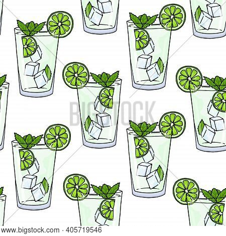 Seamless Pattern Glass Of Mojito, Ice Cubes, Mint Leaves And Lime Slice On A White Background. Summe