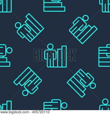 Green Line Productive Human Icon Isolated Seamless Pattern On Blue Background. Idea Work, Success, P