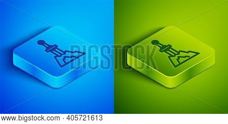 Isometric Line Sword In The Stone Icon Isolated On Blue And Green Background. Excalibur The Sword In