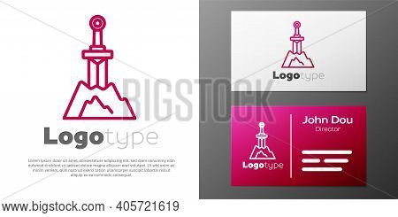 Logotype Line Sword In The Stone Icon Isolated On White Background. Excalibur The Sword In The Stone