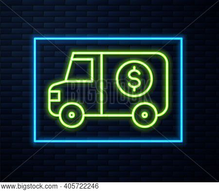 Glowing Neon Line Armored Truck Icon Isolated On Brick Wall Background. Vector