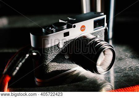 Bangkok, Thailand - Jan 6, 2021: Leica M10 Full-frame Digital Rangefinder Camera With Leica 50mm F2