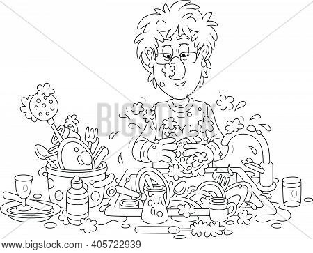 Everyday Homework, A Funny Young Man Washing Dishes, Pans, Forks And Spoons With Liquid Soap In His