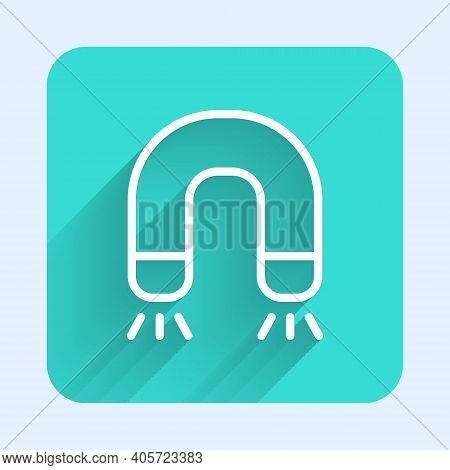 White Line Magnet Icon Isolated With Long Shadow. Horseshoe Magnet, Magnetism, Magnetize, Attraction