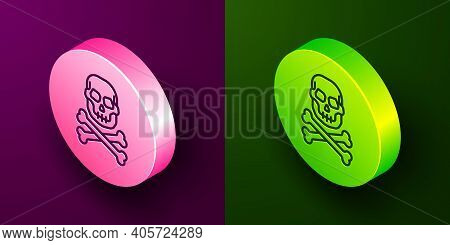Isometric Line Skull On Crossbones Icon Isolated On Purple And Green Background. Happy Halloween Par