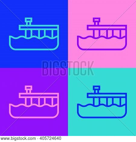 Pop Art Line Beach Pier Dock Icon Isolated On Color Background. Vector