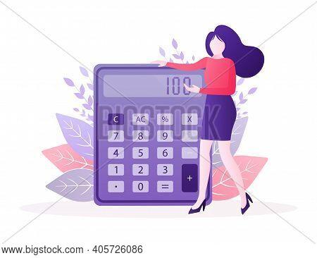 Cartoon Character. Cartoon Character Calculator Girl. Vector Illustration.