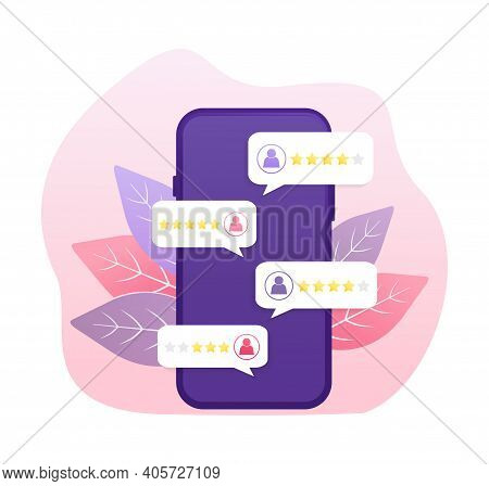 Flat Illustration With Golden Rating People. Rating People With Smartphone In Flat Style On White Ba