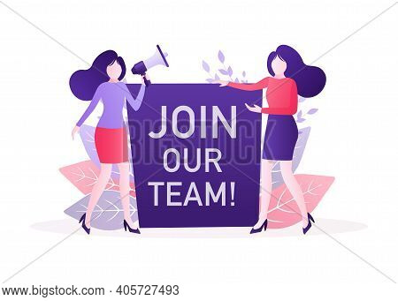 Join Our Team People, Great Design For Any Purposes. Flat Join Our Team People For Flyer Design. Gir