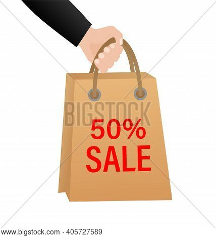 50 Percent Sale Package On White Background. 50 Percent Sale Package, Great Design For Any Purposes.