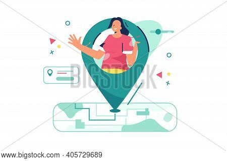 Current Location Of Woman Vector Illustration. Map Showing Peoples Location In Current Moment Flat S