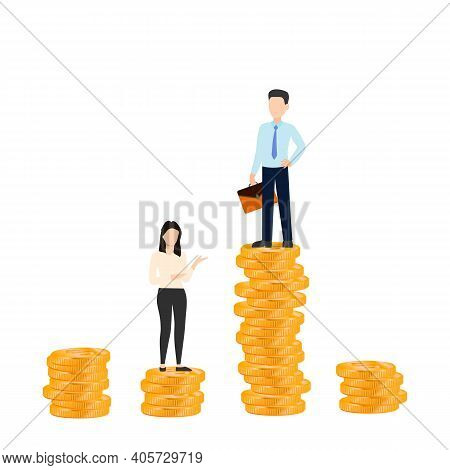Successful Business Man And Woman Standing On Top Of Lifting Stack Of Gold Coins. Eps10