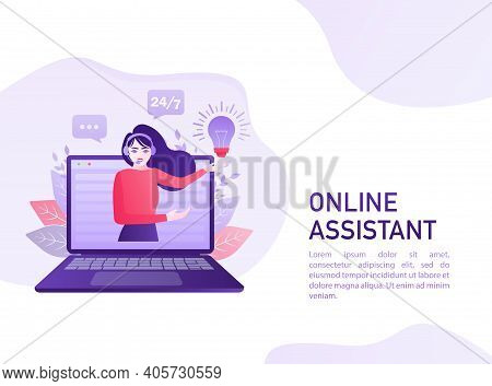 Telephone Operator. Cartoon Character. Support Service Icon. Online Support Call Center. Customer Se