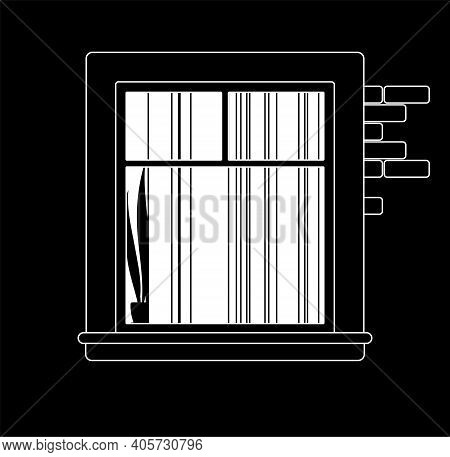 Window At Night With Closed Curtains In Evening Time. Empty Nighttime Flat With Light Inside, Illumi